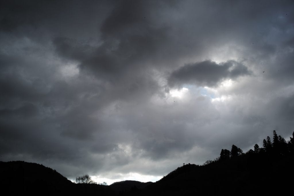 Cloudy morning sky at winter Tono village.