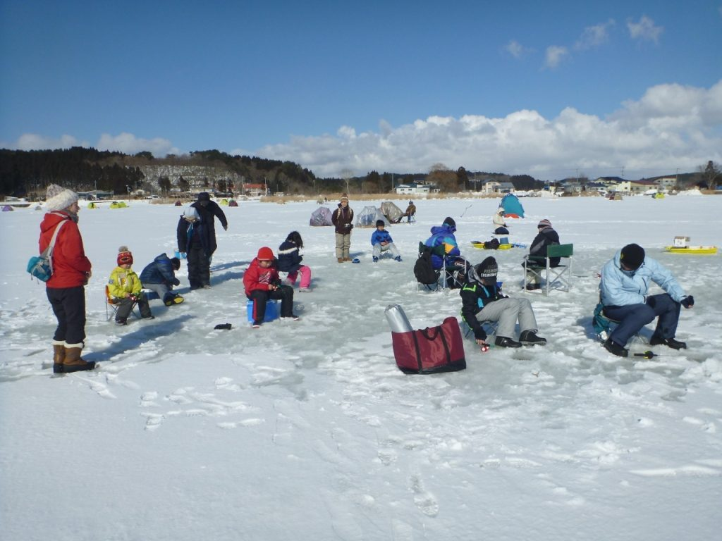 Small Fishing on the ice lake