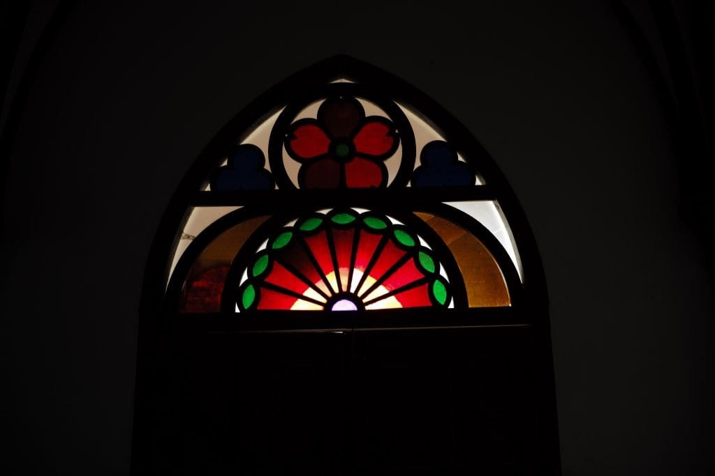 Stained Glass Heritage Church in Ruin, Nokubi Church in Nozaki Island, Nagasaki