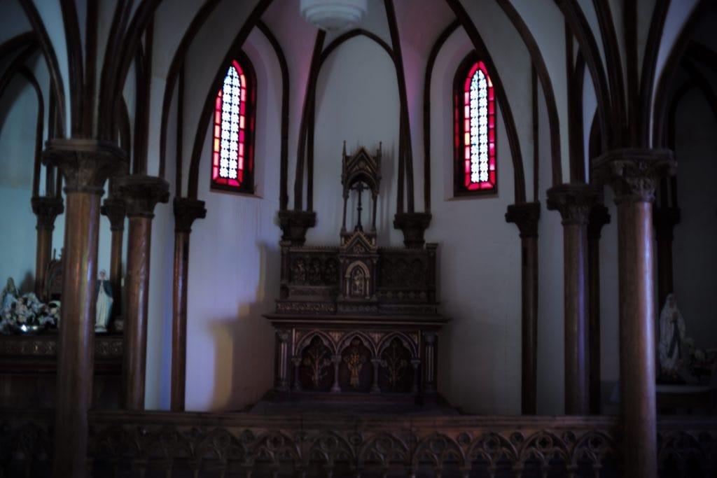 Preaching pedestal Heritage Church in Ruin, Nokubi Church in Nozaki Island, Nagasaki