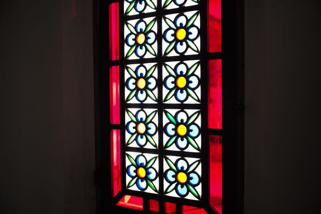 Stained Glass Heritage Church in Ruin, Nokubi Church in Nozaki Island, Nagasaki