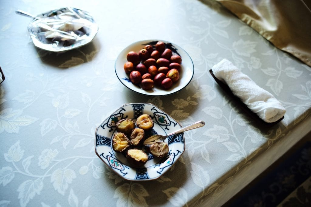 chestnuts picked-up in their garden.