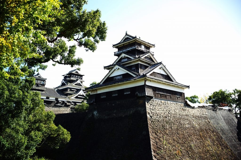 Looking up Kumamoto castle from Kato Shrine