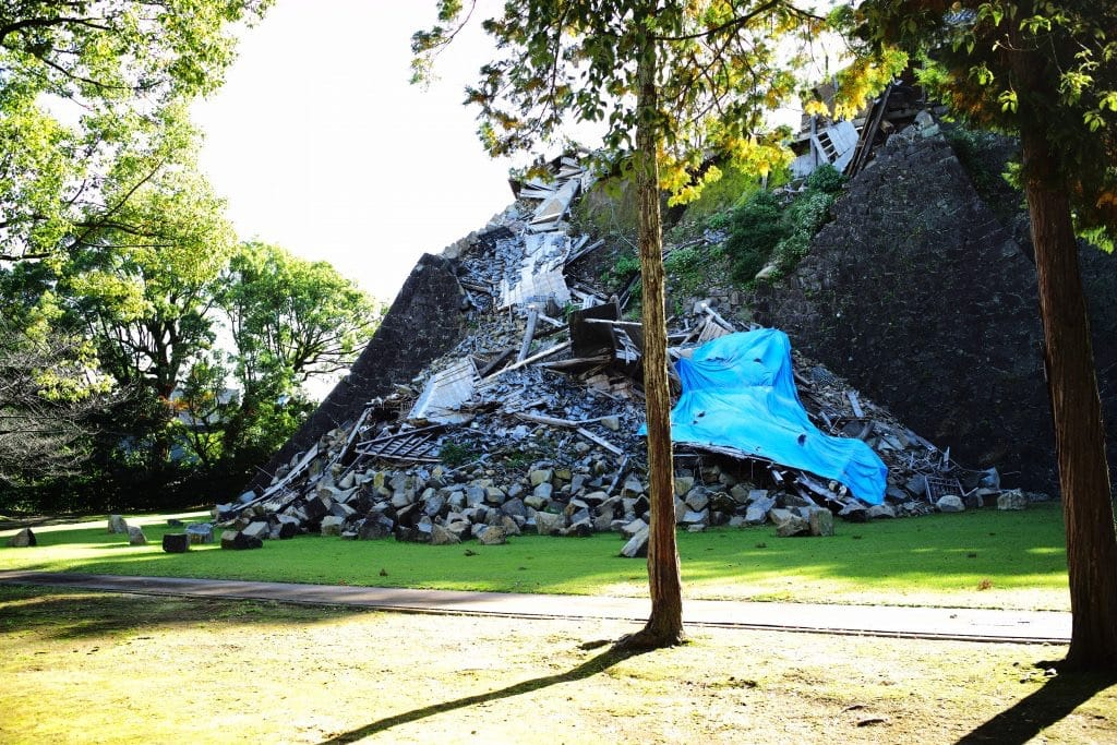 Castle stone wall is broken at Kumamoto Castle
